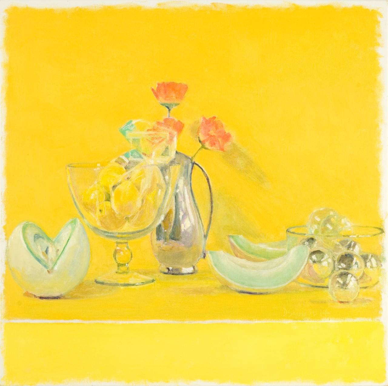 Happy Yellow Still Life with Shrouded Lemons, Melon and Bowl of Baubles by David Summers at Les Yeux du Monde Art Gallery