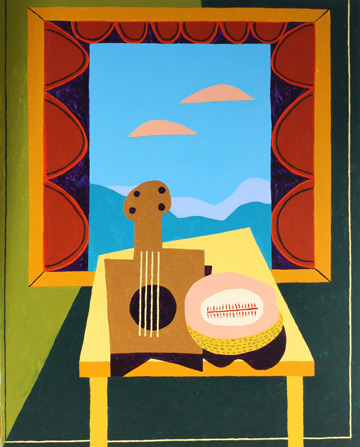 Still Life with Mandolin and Cantalope by Russ Warren at Les Yeux du Monde Gallery