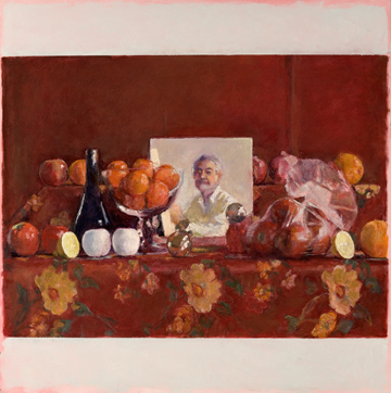 Red Still Life with Square Mirror, Shrouded Apples and Parted Lemon by David Summers at Les Yeux du Monde Gallery